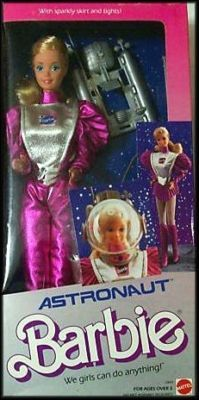 Astronaut barbie. I remember very vividly, playing with her & my barbie kitchen in my parent's family room.