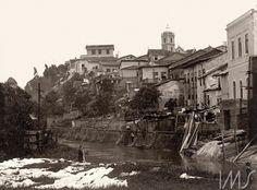 Casario e lavadeira às margens do rio Tamanduateí, 1910