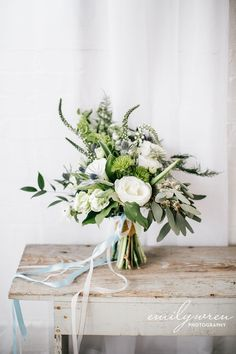 Green and white simple boquet