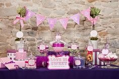 Pink and purple csndy buffet full view