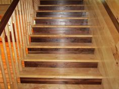 Stairs built with hard maple treads