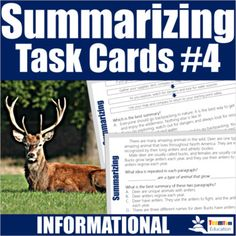 Summarizing Task Cards #4 focus on highly engaging informational texts covering a variety of expository topics: Daniel Boone, Nature, Deer, Survival, Squirrels, and more! Students will quickly engage with these high-interest informational task cards and easily learn how to summarize!