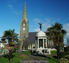 War memorial and Church of Ireland in Lurgan, Co Armagh, northern Ireland.