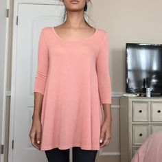 PROJECT SOCIAL T Urban Outfitters tunic so soft, pretty peach color. 3/4 sleeves, perfect with shorts or jeans Urban Outfitters Tops Tunics