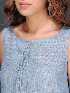 Blue-Ivory Sleeveless Handloom Cotton Dress by Jaypore