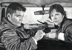 Sam, Dean, Impala Supernatural PRINTS & POSTCARDS AVAILABLE FOR SALE AT www.lupinemagic-art.com Sakura Sumo grip mechanical pencil, faber castell TK9400 - 6B 3.15mm mechanical pencil and copic ...
