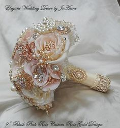 Items similar to ROSE GOLD Brooch Bouquet -Custom Made to Order Brides Brooch Bouquet - Rose Gold Bouquet , Brooch Bouquet, Jeweled Bouquet on Etsy Gold Bouquet, Broschen Bouquets, Wedding Brooch Bouquets, Broch Bouquet, Pink And Gold Wedding, Rose Gold Weddings, Cream Wedding, Silk Flowers, Ribbon Flower
