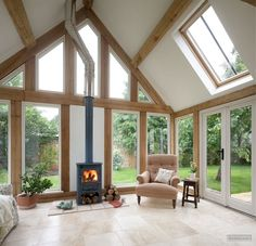 Vaulted Ceilings in a sunroom by Border Oak Bespoke Oak Frames borderoak.com