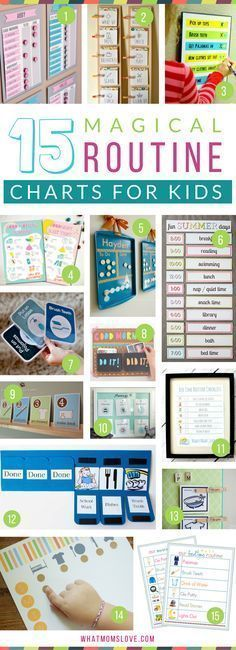 Morning and Bedtime Daily Routine Charts for Kids - perfect for keeping them on a schedule over the summer or for back to school. DIY and printable routine charts to help teach kids independence! Plus more tips, tricks and hacks to survive Summer with your kids from http://whatmomslove.com #parentingtipscharts