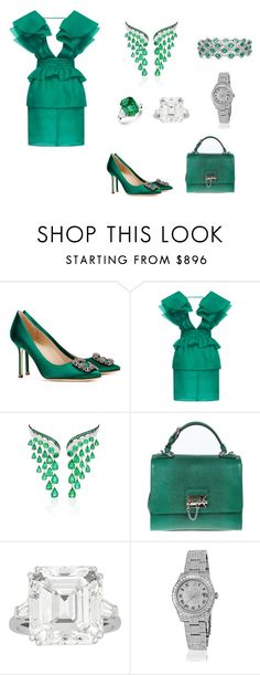 """Set 207"" by nanakong ❤ liked on Polyvore featuring Manolo Blahnik, Emanuel Ungaro, VanLeles, Dolce&Gabbana, Harry Winston, Rolex and Blue Nile"