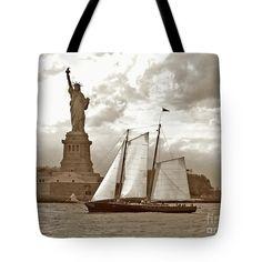 Schooner And Statue of Liberty