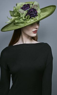 Rachel Trevor Morgan Millinery Autumn Winter 2016 Lime green straw side sweep with organza choux and flowers (R16W3)