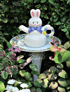 Bunny Teapot Garden Totem Stake  As by GardenWhimsiesByMary