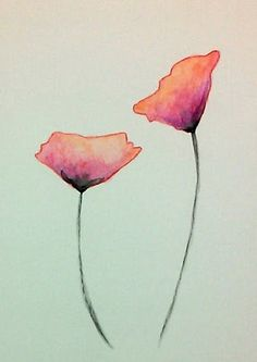 Watercolor Poppies in Pink and Orange by TatteredPetals on Etsy