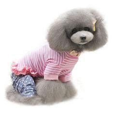0a597d293c Kutyaruha,rózsaszín-fehér csíkos, fodros nyári kutyapóló - Divatos és  nagyon kényelmes, pamut ruha kutyusodnak - Hátán fehér csipkedíszítéssel  teszi ...