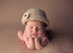 Felted Newborn Hat ~Vintage Cloche'    Hand Knit and Felted Cloche'   Newborn Baby Photo Prop