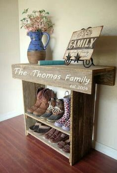 Home- made, personalized entry- way boot/ shoe shelf!!! So cute!!