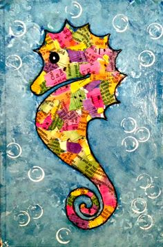 celebrate summer mixed media workshop is part of Seahorse art - Celebrate Summer Mixed Media Workshop Summerart Ideas Summer Art Projects, Art Projects For Teens, Summer Crafts, Art For Kids, Art Du Collage, Seahorse Art, Ocean Crafts, Sea Art, Art Plastique