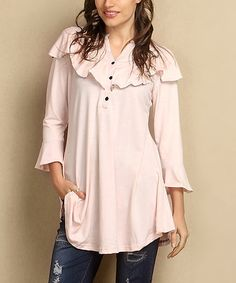 Another great find on #zulily! Light Pink Notch Neck Ruffle Tunic - Plus #zulilyfinds