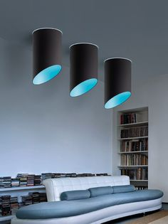 Pank PL50 ceiling lamp in black covering fabric with sky-blue fabric inside.