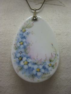 Pastel Floral Porcelain  necklace by vintagejewelryalcove on Etsy, $14.50