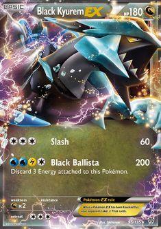 Pokemon - Black Kyurem - EX - Black and White Plasma Storm - Holo Carte Pokemon Ex, Pokemon Tcg Cards, Cool Pokemon Cards, Pokemon Trading Card, Trading Cards, Pokemon Noir, Mega Pokemon, Black Pokemon, Pokemon Party