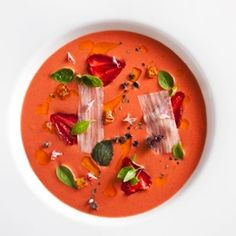 Strawberry Gazpacho with Basil, Black Pepper, Olive Oil and Guanciale