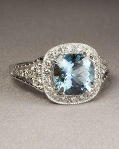 Penny Preville 18-Karat White Gold Aquamarine Ring with Diamonds- Neiman Marcus