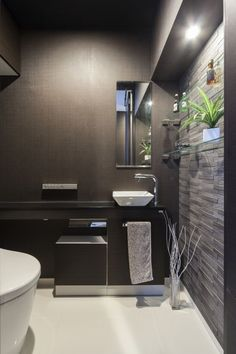 Get Inspired with 20 Luxury Black and White Bathroom Design Ideas - Cozy Decoration Ideal Bathrooms, Modern Bathroom, Small Bathroom, Toilet Tiles, Carport Designs, Small Toilet, Toilet Room, Japanese Interior, Bathroom Toilets