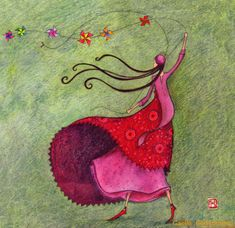 Wonderful art card by Gaelle Boissonnard of France. Image: tall slender girl flying small kites on a string. Colors: girl in pink & red dress, meadow green Marie Cardouat, Art Fantaisiste, Art Carte, Art Moderne, Naive Art, Children's Book Illustration, Whimsical Art, Altered Art, Illustrators