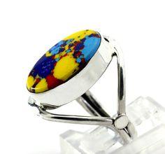 Bezel-Set Dyed Jasper Quartz Sterling Silver Ring size 6.75