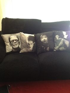 Home Design: cool decorative pillows featuring old horror films. I want to do…