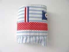 textile bracelet cuff - striped blue and white wrist cuff - americana - red accents -  free shipping - fabric cuff
