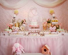 Pink dessert table at a shabby chic birthday party! See more party planning ideas at CatchMyParty.com!