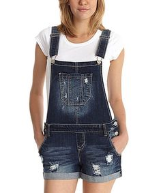 73052105a84 WallFlower Jeans Camila Dark Wash Denim Overall Shorts