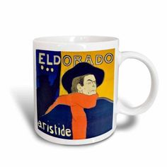 3dRose Vintage French advert for singer Aristide Bruant by Toulouse-Lautrec - cafe-cabaret at the Eldorado, Ceramic Mug, 11-ounce