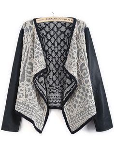Black Contrast PU Leather Metallic Yoke Cardigan EUR€24.30