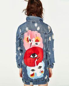 Image 5 of OVERSIZED DENIM JACKET WITH EYES DESIGN from Zara