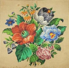 A Berlin WoolWork Floral Bouquet Pattern Produced By M Levy In Berlin