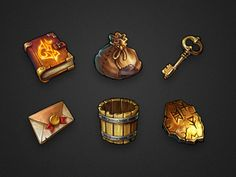 by monomoon-These are are an interesting group of icons that i have found that are very reminiscent of video game icons. The light and shadow that they have created to highlight the small details work well with the color scheme that they have used. Giving each piece an aged appearance.