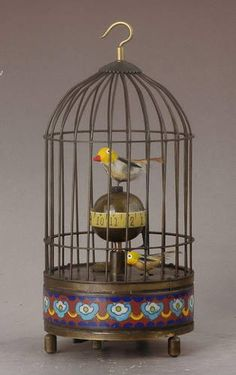 Chinese Copper Carved Two Birds In Cage Clock