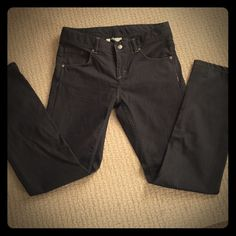 Athleta Frontier Denim Jeans Ultra durable, abrasion resistant fabric repels water and stains.  Lightweight, stretchy and comfortable.  Semi fitted, Mid rise, and straight leg.  Black indigo denim. Athleta Jeans Boot Cut
