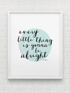 Inspirational print // black white mint motivational print // mint home decor // every little thing is going to be all right Bob Marley quote print // inspirational print // black white mint motivational print // modern home decor // office wall art Office Wall Art, Home Office Decor, Office Prints, Office Ideas, Contemporary Home Decor, Modern Wall Art, Quote Prints, Wall Prints, Bob Marley Quotes