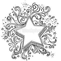 Ornate star in black and white Royalty Free Stock Vector Art Illustration