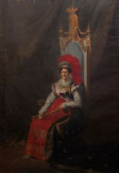 Portrait of Dona Carlota Joaquina, Queen Consort of Portugal, Brasil and Algarves. Wife of King John Vi of Portugal, Brasil and Algarves. By João Baptista Ribeiro, 1824.