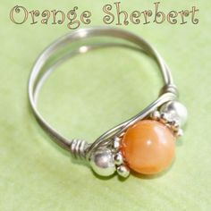 ORANGE SHERBERT Celebration Party Ring in Mother of Pearl Ring in Silver Sizes 3 - 10 by Maru