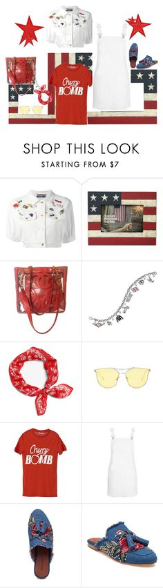"""cherry bomb"" by jastil ❤ liked on Polyvore featuring Moschino, Chanel, The Bradford Exchange, Ganni, Topshop and Jeffrey Campbell"