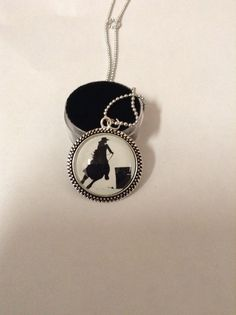 Barrel racer photo pendant with ornate rope by TrailsWestTrading