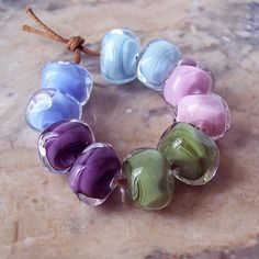 Organic Lampwork Nuggets (10 pcs). Cool Shades Lampwork Set. Sky Blue, Light Pink, Olive Green, Purple, Periwinkle. Made to order.
