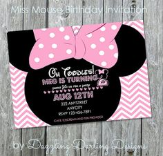 Miss Mouse Custom Printable Birthday Invitations by dazzlingdarling designs on Etsy on Etsy, $12.00